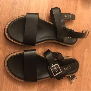 ALDO Black Strappy Sandals with Gold Belt